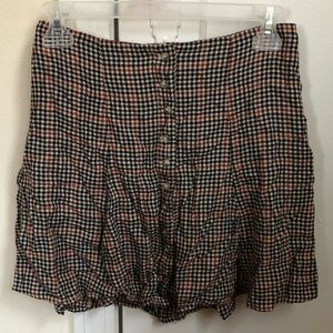 Black, White, Brown Plaid Skirt